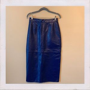 Vintage 100% leather Midi Skirt